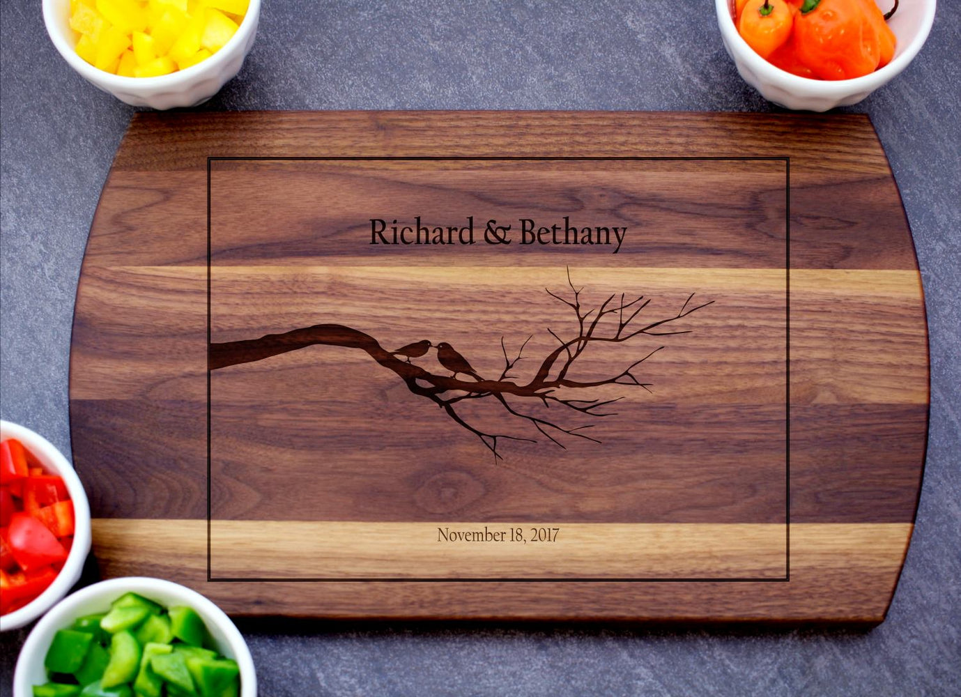 Love Birds | Personalized Laser Engraved Cutting Board