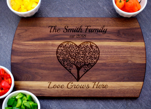 Love Grows Here | Personalized Laser Engraved Cutting Board