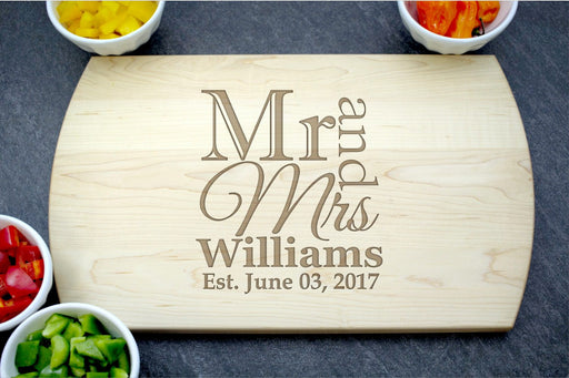 Mr and Mrs | Personalized Laser Engraved Cutting Board
