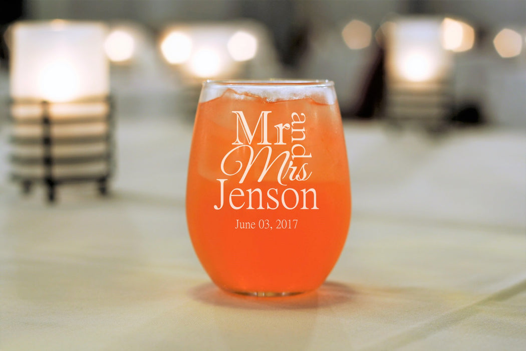 Mr and Mrs | 15oz Stemless Wine Glass