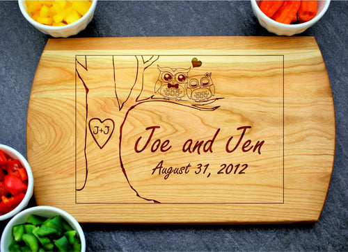Owls with Initials | Personalized Laser Engraved Cutting Board