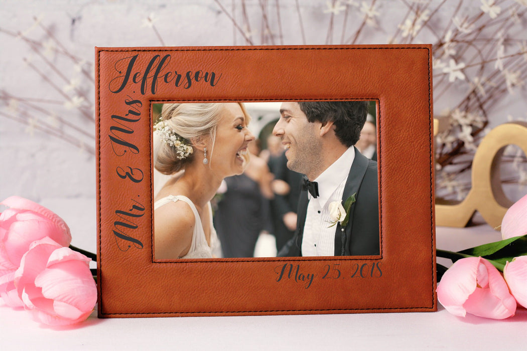 Mr & Mrs Corner Style | Leatherette Picture Frame
