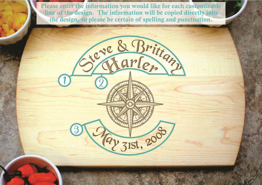 True North | Personalized Laser Engraved Cutting Board