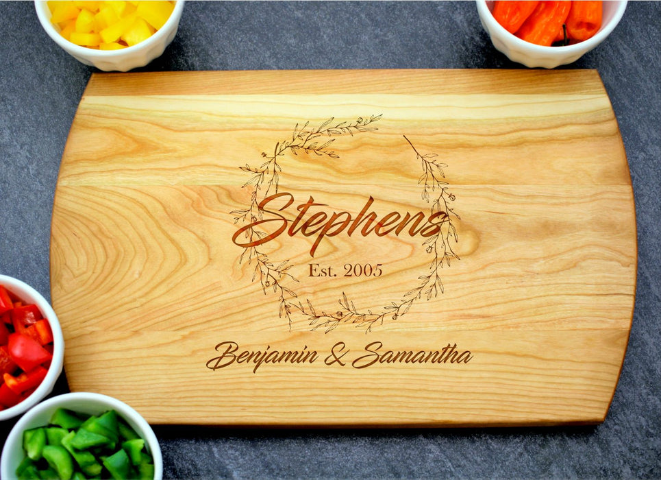 Wreath | Personalized Laser Engraved Cutting Board