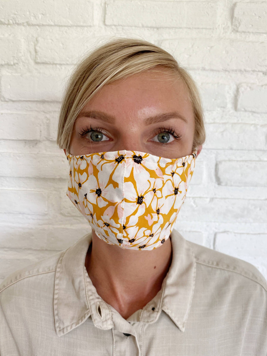 Tobacco Posy Floral Face Mask