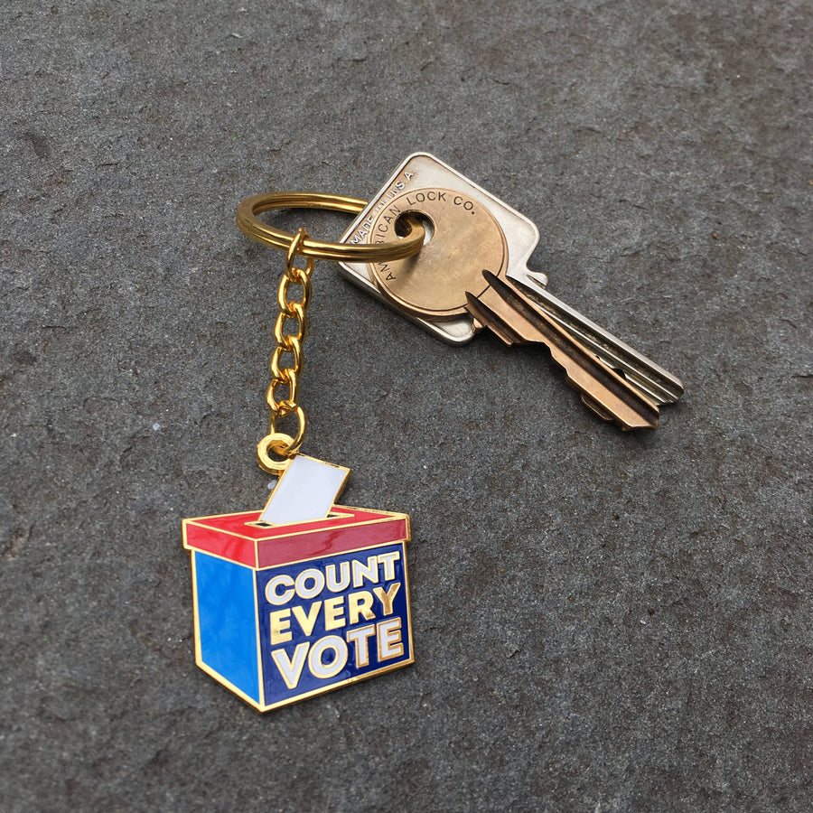 Count Every Vote Enamel Keychain