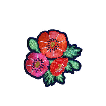 Poppies Embroidered Patch