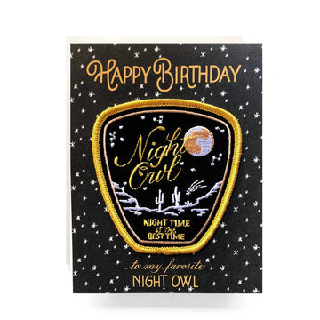 Embroidered Night Owl Patch + Birthday Card