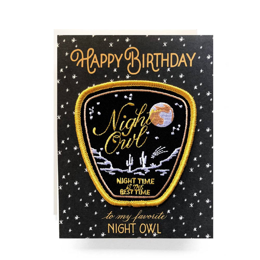 Night Owl Birthday Card + Embroidered Patch