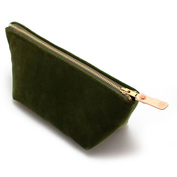 Olive Velvet Travel Clutch