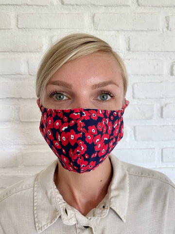 Poppy Red Pansy Face Mask