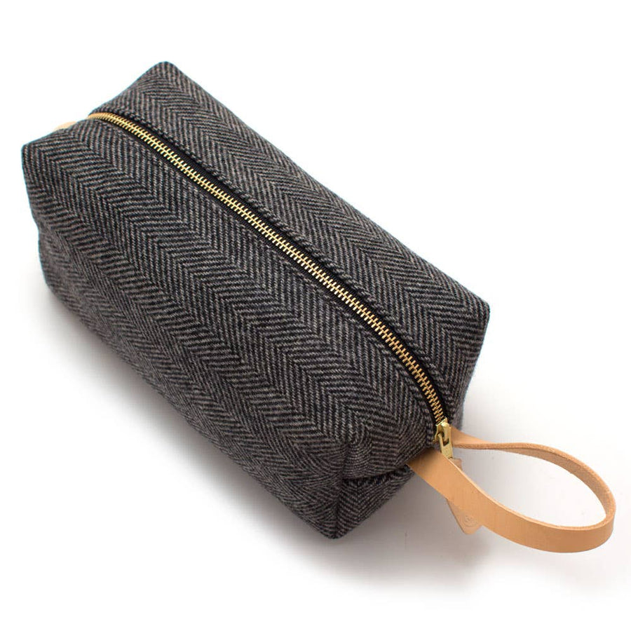 General Knot & Co. - Charcoal Wool Herringbone Travel Kit
