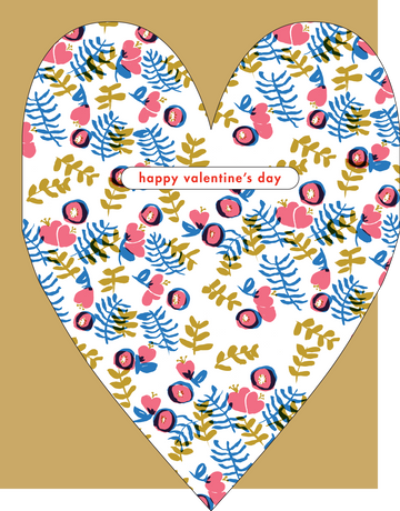 Buttercup Floral Heart Valentine's Day Card
