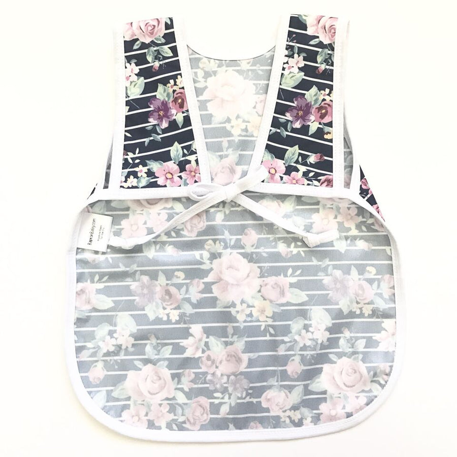 Retro Stripe Rose Floral Toddler Bapron