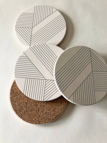 Deco Ceramic Coasters set of 4
