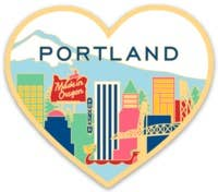The Found - Portland Skyline Heart Die Cut Sticker
