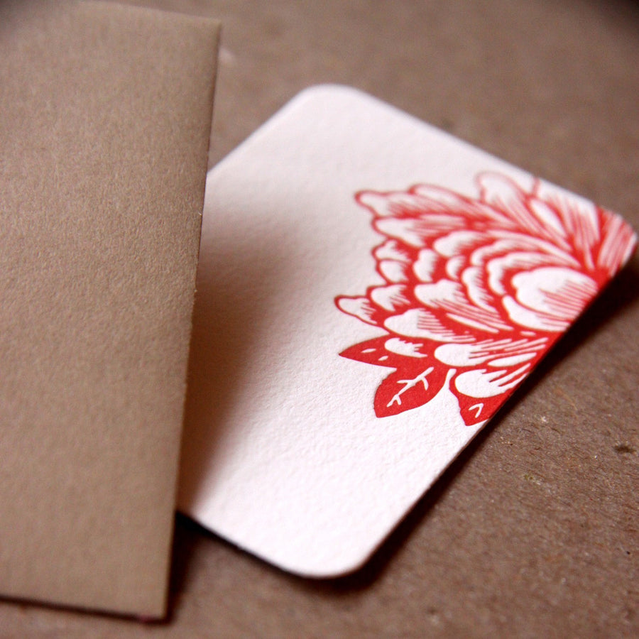 Letterpress Mini Notes : 5 Scarlet Red Blossoming Flower Mini Notes - tiny flat gift notes w kraft colored envelopes