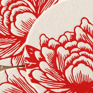 Letterpress Coasters : Scarlet Red Blossoming Flower Coaster Set - 6 coasters in brown kraft gift box