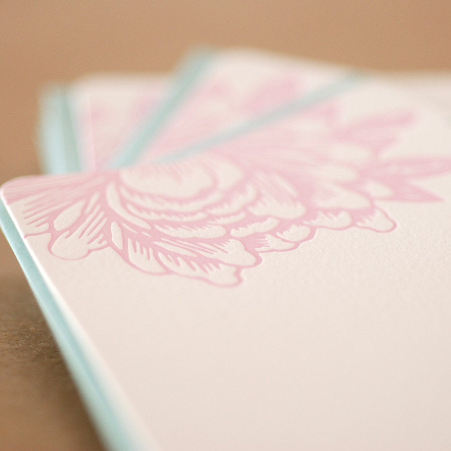 Peony Pink Blossoming Flower Letterpress Stationery :  5 small flat notes w pool blue envelopes