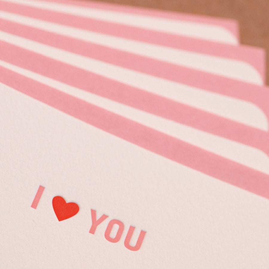 Letterpress Valentine or Love Card : Fire + Peony I Love You Mini-Notes - package of 5 tiny notes with peony pink envelopes