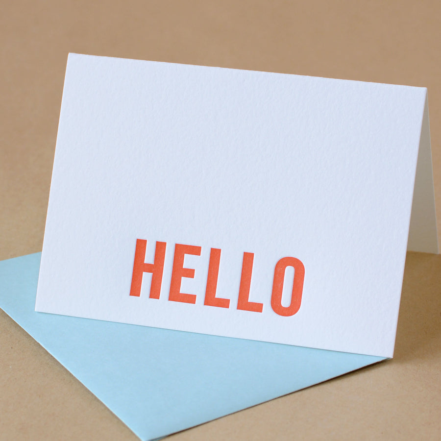 Fire Modern Block Letterpress Hello Note