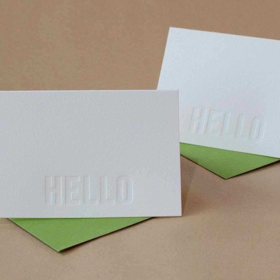 Impression Modern Block Letterpress Hello Note