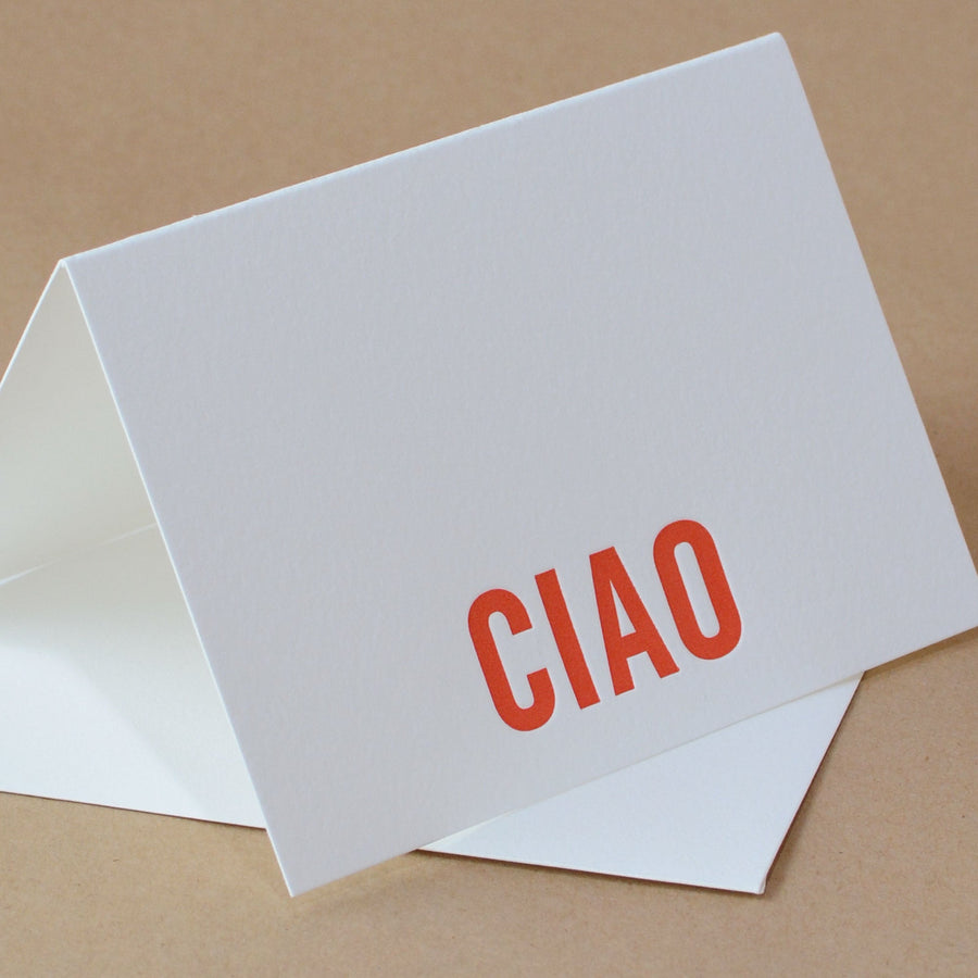 5 Fire Red Modern Block Letterpress Ciao (Italian Greeting)