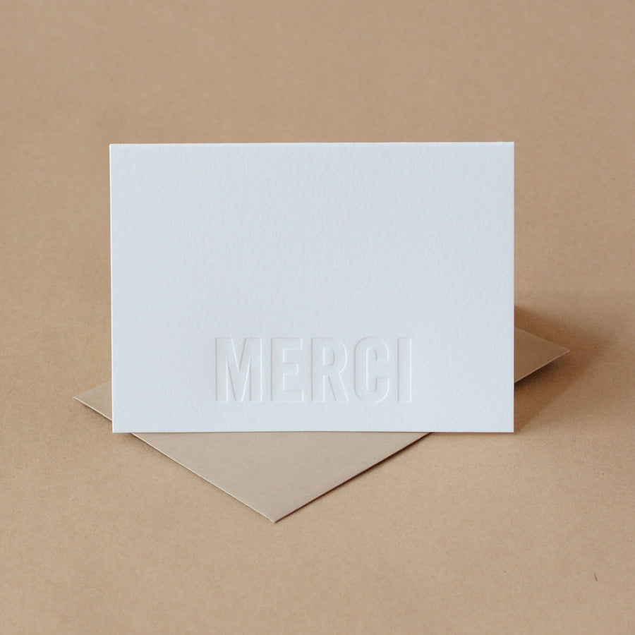 Letterpress Cards : 5 Impression Modern Block Merci Notes (French Thank You)
