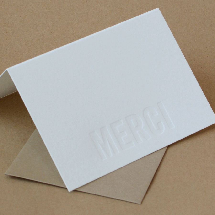 Impression Modern Block Letterpress Merci Note (French Thank You)