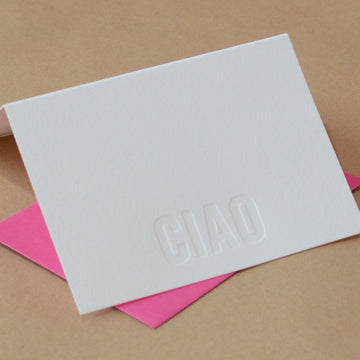 5 Impression Modern Block Letterpress Ciao (Italian Greeting)