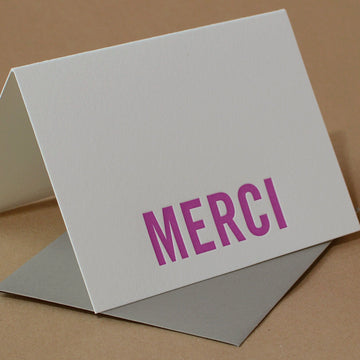 Fuchsia Modern Block Letterpress Merci Note (French Thank You)