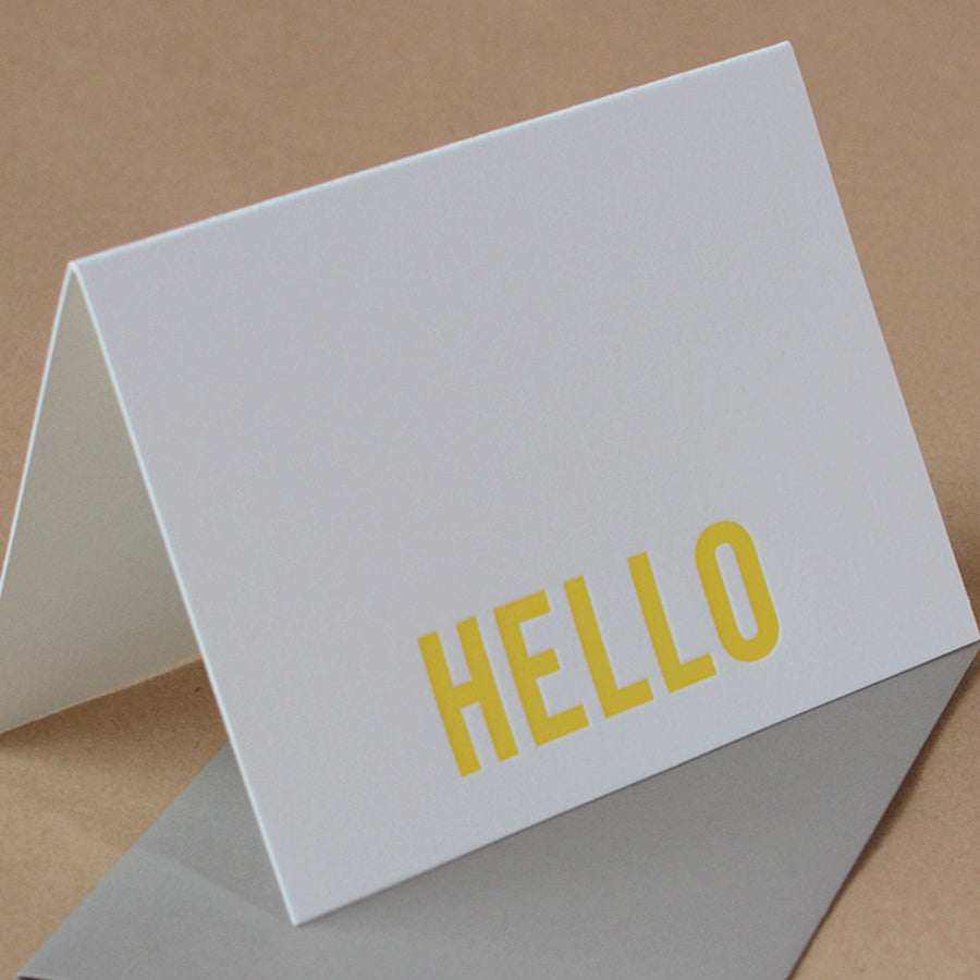 Sunshine Yellow Modern Block Letterpress Hello Note