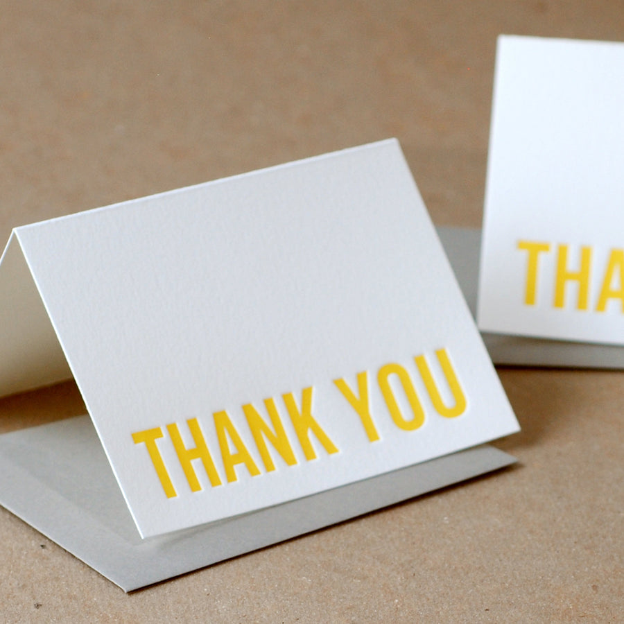 Letterpress Cards : 5 Sunshine Yellow Modern Block Thank You Notes - box of small folded cards w stone gray color envelopes