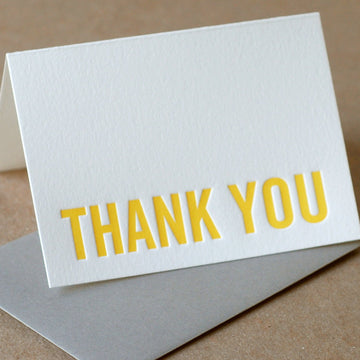 Letterpress Card : Sunshine Yellow Modern Block Thank You Note - small folded card w stone gray color envelope