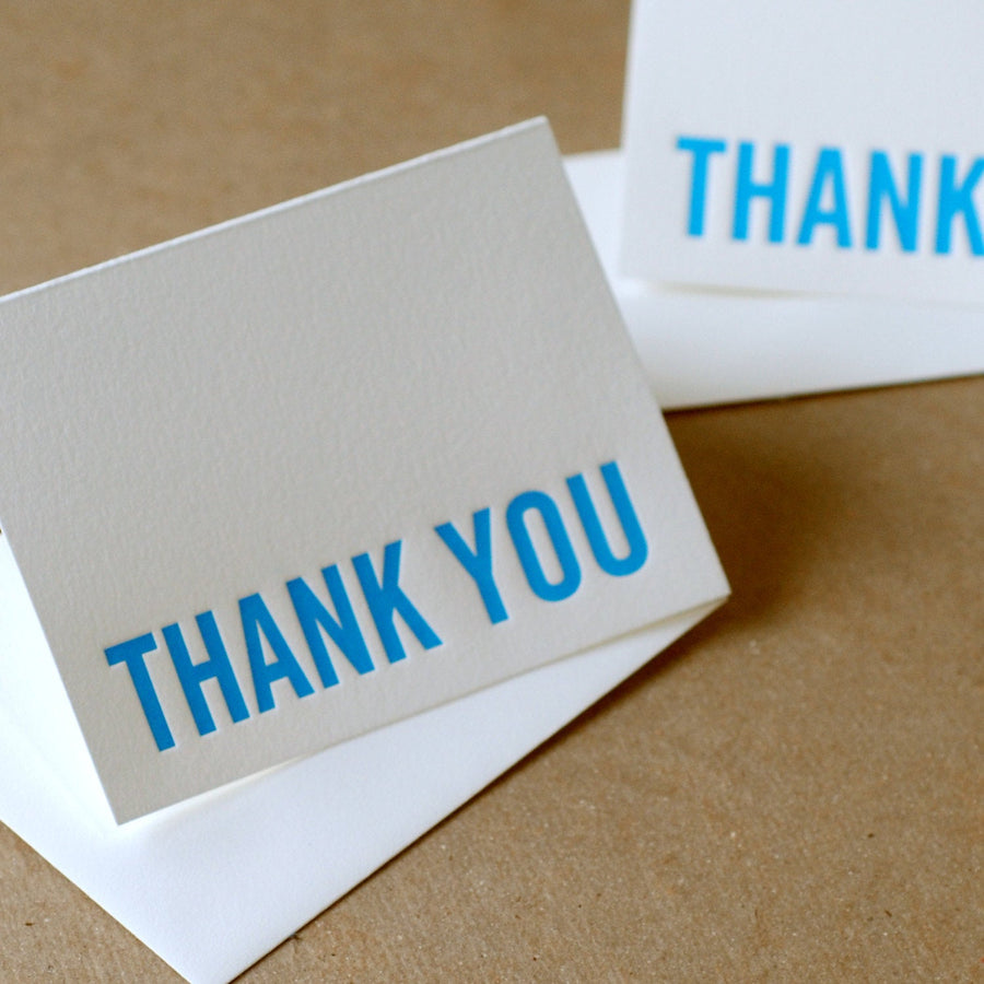 True Blue Modern Block Letterpress Thank You Note