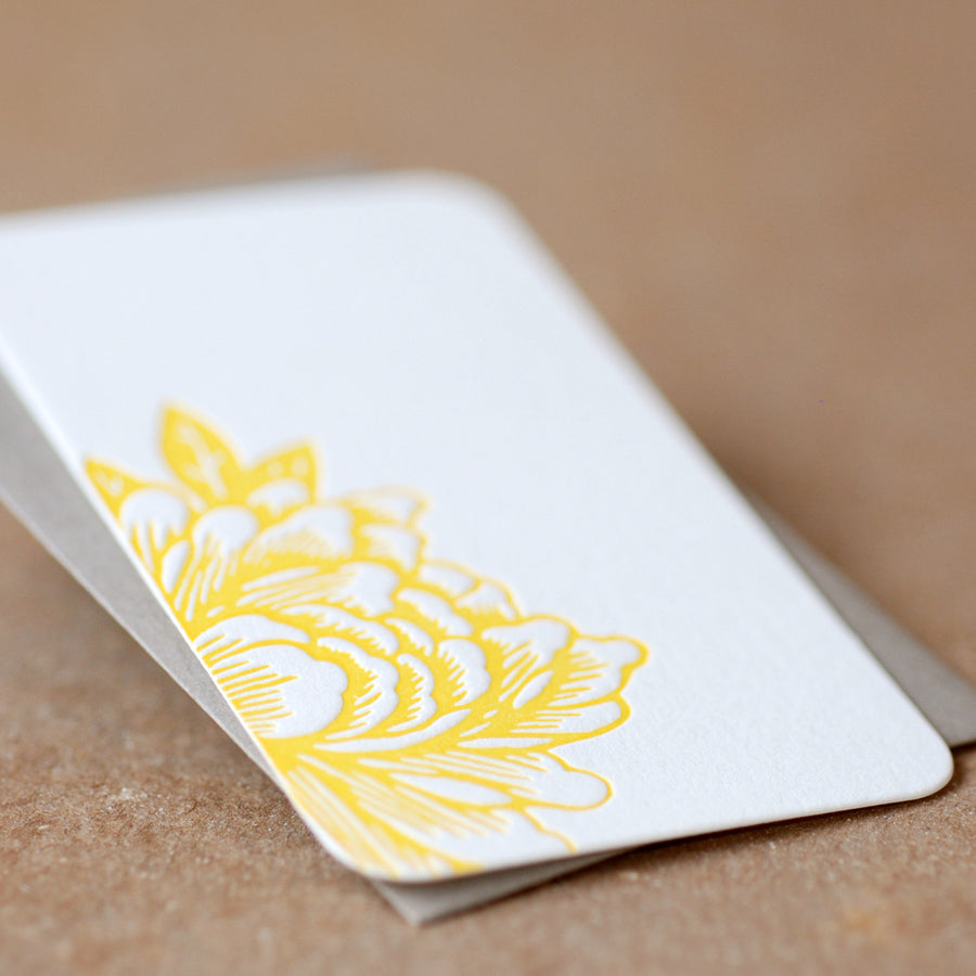 Letterpress Gift Notes or Gift Cards, Stationery : Sunshine Yellow Blossoming Flower Mini Notes - 5 tiny flat cards w stone grey envelopes