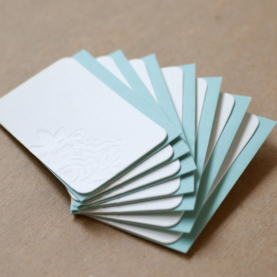 Letterpress Mini Notes : 5 Impression Blossoming Flower Mini Notes tiny flat cards w pool blue colored envelopes