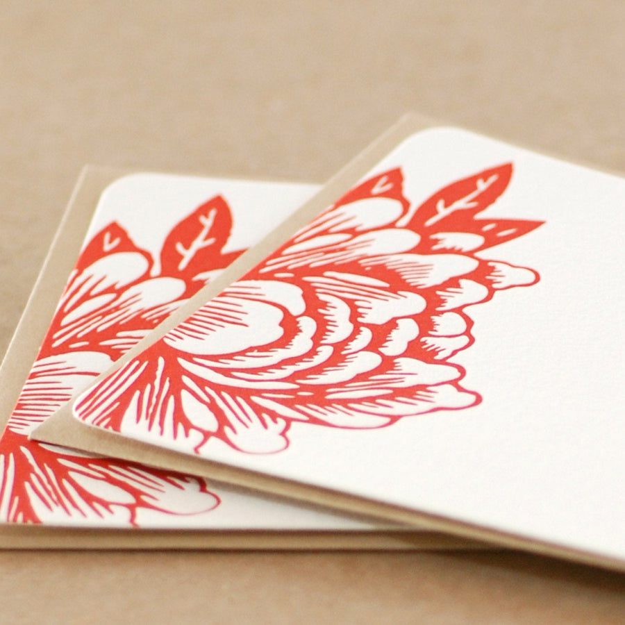 Scarlet Red Blossoming Flower Letterpress Stationery :  5 small flat notes w kraft colored envelopes