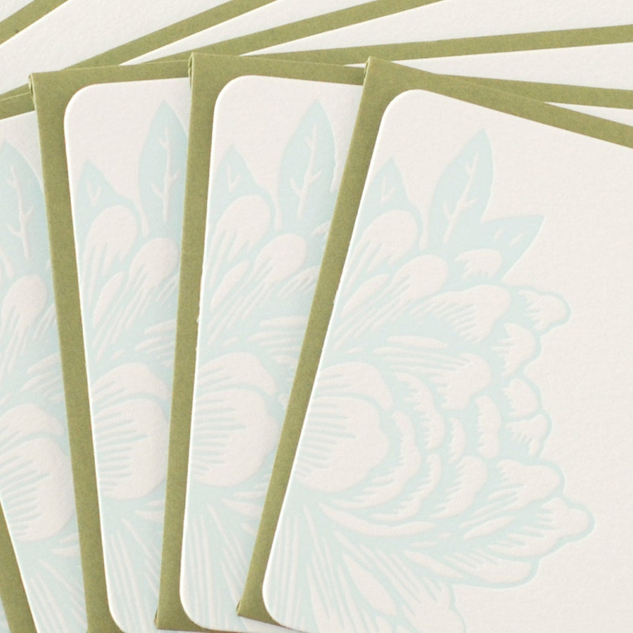 Sky Blue Blossoming Flower Letterpress Stationery : 5 small flat notes w moss green colored envelopes