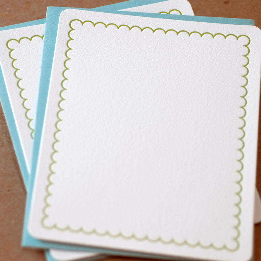 Edamame Simple Scallop Letterpress Stationery :  box set of 5 medium flat cards w pool blue colored envelopes
