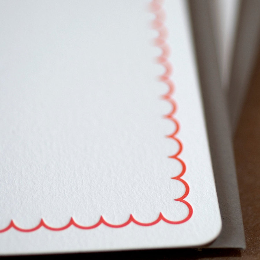 Fire Red Simple Scallop Letterpress Stationery :  box set of 5 medium flat cards w stone gray colored envelopes
