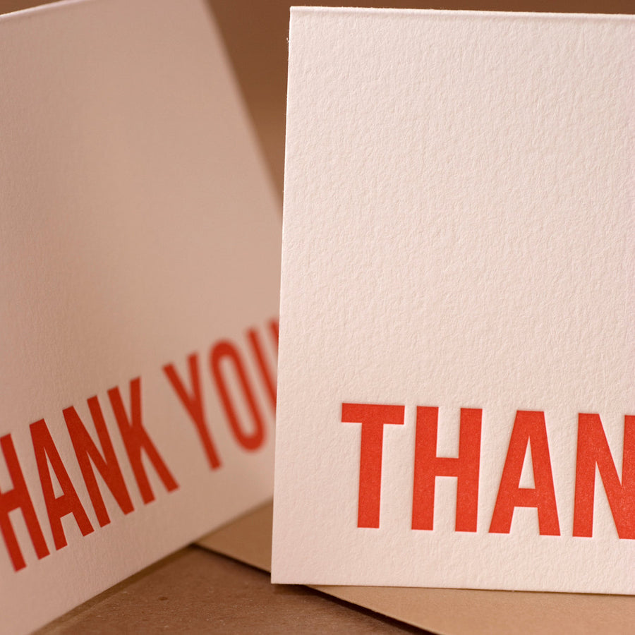 Letterpress Cards : 5 Fire Red Modern Block Thank You Notes - box of small folded cards w brown kraft colored envelopes