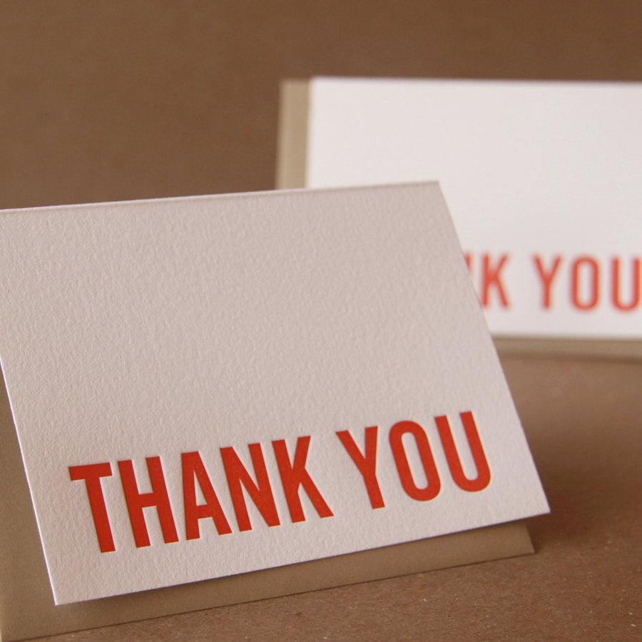 Fire Red Modern Block Letterpress Thank You Note