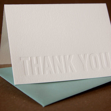 5 Impression (no ink) Modern Block Letterpress Thank You Notes