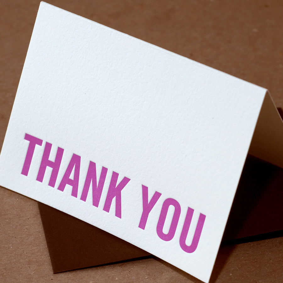 Letterpress Card : Fuchsia Modern Block Thank You Note - single small folded card w chocolate brown colored envelope