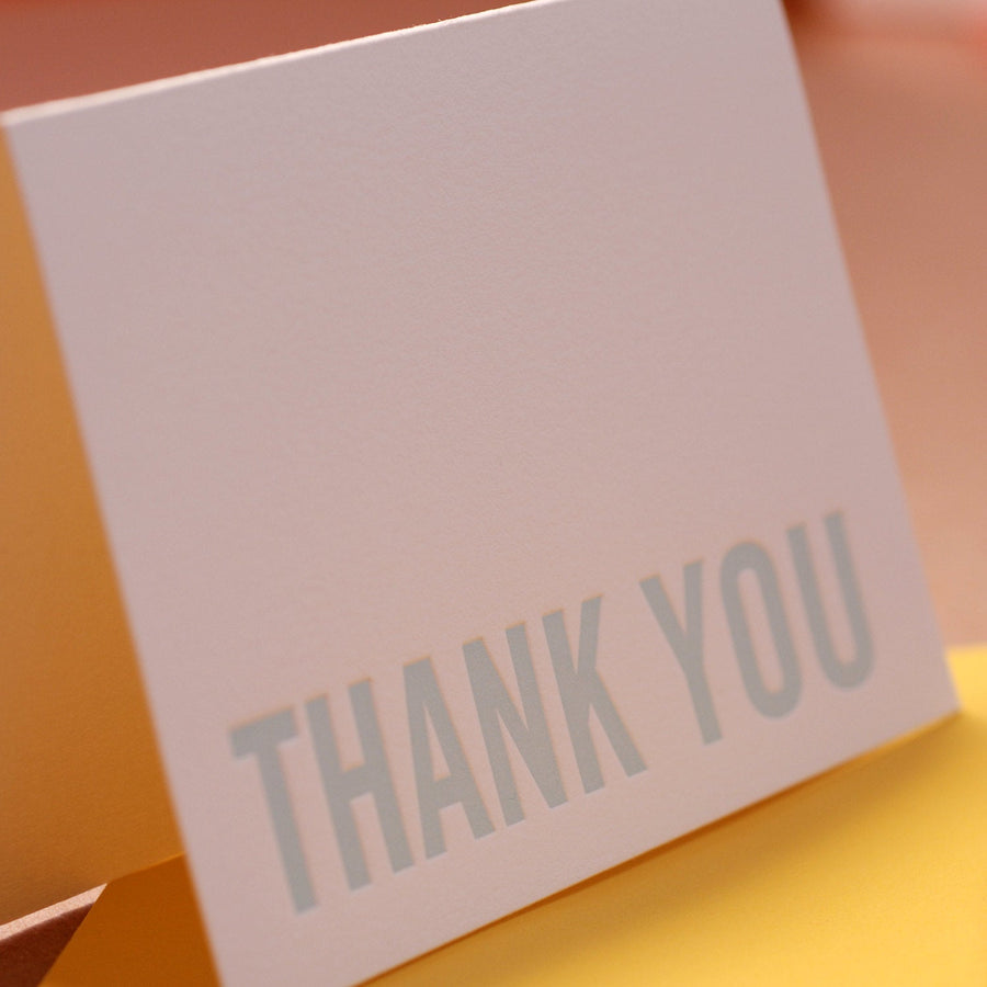 Letterpress Cards : 5 Sky Blue Modern Block Thank You Notes - box of small folded cards w mustard yellow colored envelopes