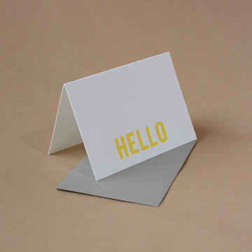 5 Sunshine Yellow Modern Block Letterpress Hello Notes