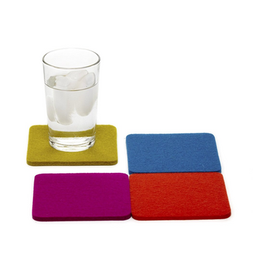 Bierfilzl Square Felt Coasters, Electric Multicolor Set