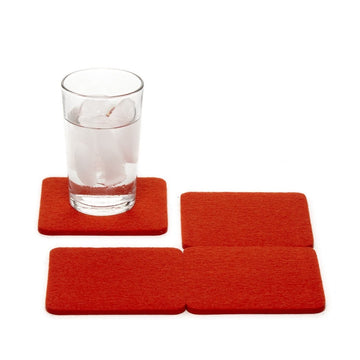 Bierfilzl Square Felt Coasters, Orange Set