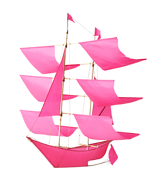 Pink Sailing Ship Kite